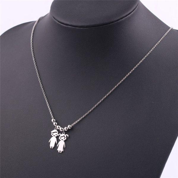 Engraved Children Charm Pendant Necklace 4