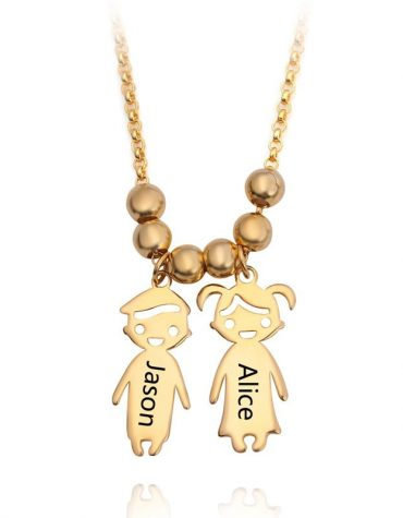 Engraved Children Charm Pendant Necklace 1