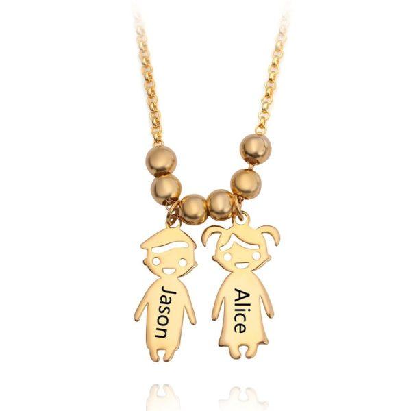 Engraved Children Charm Pendant Necklace 1