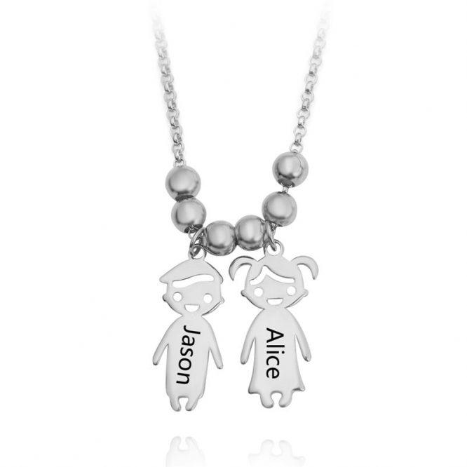 Engraved Children Charm Pendant Necklace 2
