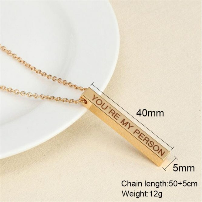 Personalized Engraved 3D Bar Necklace