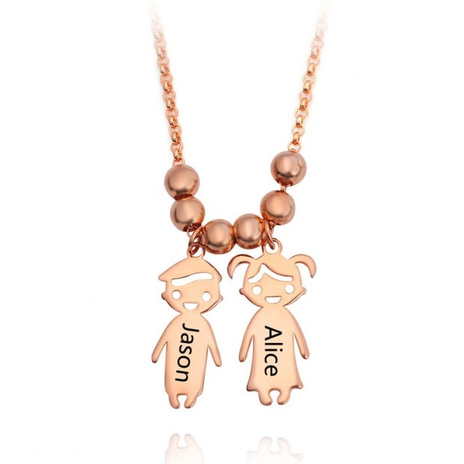 Engraved Children Charm Pendant Necklace 3