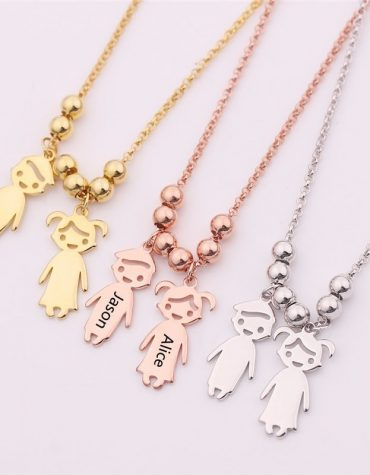 Engraved Children Charm Pendant Necklace