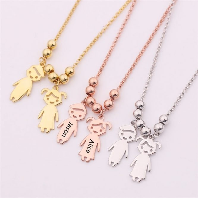 Engraved Children Charm Pendant Necklace
